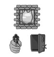 crime and punishment monochrome icons in set vector image