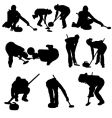 curling silhouette set vector image vector image