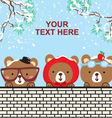 cute bear in the snow christmas day vector image vector image