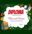 education diploma with schoolbag sketch formulas vector image vector image