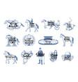 equestrian sport icons jockey horse riding vector image vector image