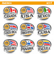 flags of american national basketball teams vector image