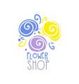 flower shop logo label for floral boutique vector image vector image