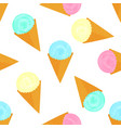 fruit ice cream balls in a waffle cone seamless vector image