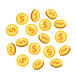 gold isolated coins set in different positions vector image