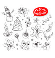 hand drawn collection of christmas objects vector image vector image