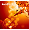 Happy holidays golden stars on glowing background vector image vector image