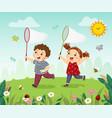 happy kids catching bugs vector image