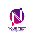initial letter n logo template colored purple vector image vector image
