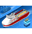 Isometric Icebreaker Ship Isolated in Navigation vector image vector image