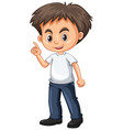 little boy pointing finger vector image vector image