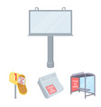 newspapers a bus stop a mail box a billboard vector image vector image