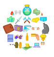 oversight icons set cartoon style vector image