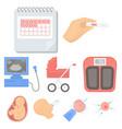 pregnancy set icons in cartoon style big vector image vector image