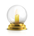realistic magic ball with light candle isolated vector image