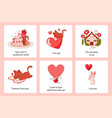 romantic animals posters cartoon greeting cards vector image