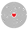 round labyrinth with red heart vector image vector image