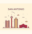 san antonio city skyline texas usa linear vector image vector image