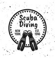 scuba diving round emblem with diver flippers vector image vector image