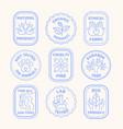 set blue ecology logos or labels vector image vector image