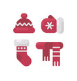 set of winter clothes flat icons vector image vector image