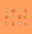 set simple line icons robots vector image