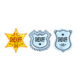 silver and golden sheriff badges set police vector image vector image