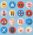Summer Flat Icon Set vector image vector image