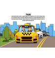 taxi service driver and male passenger in yellow vector image vector image