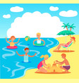 teen kids playing in sea sand castle vector image vector image