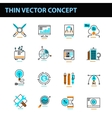 Thin line concept with flat business icons vector image vector image