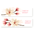 Two beautiful magnolia banners vector image vector image