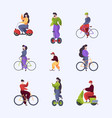 urban transport people riding motorbike in city vector image vector image