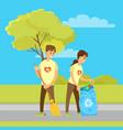 volunteers collecting garbage and sweeping street vector image