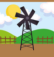 windmill wooden fence hills sun farm cartoon vector image