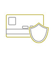 yellow line digital credit card with shield vector image vector image