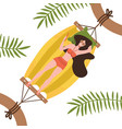 young woman character lying in a hammock under vector image vector image