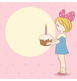 Birthday background with girl and cake vector image