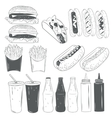 set of fast food products isolated on white vector image