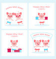 2019 happy new year zodiac pig sign character set vector image vector image