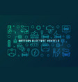 battery electric vehicle colored linear vector image vector image