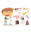 boy singer and musician kids future dream vector image vector image