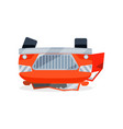 bright red car lies on its roof after crash vector image vector image