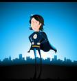 cartoon blue super lady vector image vector image