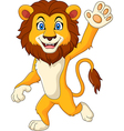 Cartoon funny lion waving hand vector image vector image