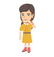 caucasian little girl brushing her teeth vector image