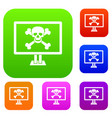 computer monitor with a skull and bones set vector image vector image
