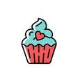 cupcake icon symbol of holiday and love vector image vector image