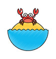 cute crab sealife character vector image vector image