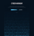 cyber monday sale banner with binary code vector image vector image